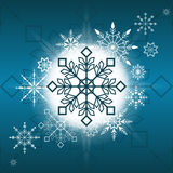Herrliche Weihnachtsschneeflockendekorations-Vektorillustration mit blauem Hintergrund Schöne guten Rutsch ins Neue Jahr-Karte Ve Stockbilder
