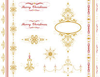 Herrlicher Verzierungssatz der frohen Weihnachten Feiertagsvektor-Hintergrundsatz Stockfotos