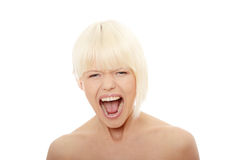Herrliches blondes weibliches Schreien Lizenzfreie Stockfotografie