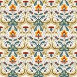 Herrliches Blumenmuster-Vektorbild mit kleiner Detailverzierung Rote, Gelbe, Seeblaue Blumen mit braunen Blättern für Leinen und  Lizenzfreie Stockfotos