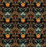 Herrliches Blumenmuster-Vektorbild mit kleiner Detailverzierung Schwarzer Hintergrund Rot, gelb, Seeblaue Blumen mit braunen Blät Stockfoto