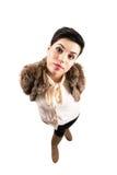 Herrliches Frauengesicht, das entlang der Kamera anstarrt Lizenzfreie Stockbilder
