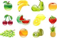Herrliches glänzendes Fruchtikonenset Lizenzfreie Stockfotografie