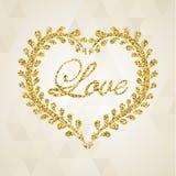 Herrliches goldenes Herz Auch im corel abgehobenen Betrag Lizenzfreies Stockbild