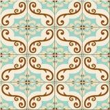 Herrliches nahtloses Muster von den bunten marokkanischen, portugiesischen mit Blumenfliesen, Azulejo, Verzierungen Lizenzfreies Stockbild