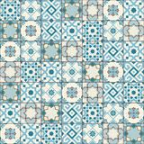 Herrliches nahtloses Muster weiße blaue marokkanische, portugiesische Fliesen, Azulejo, Verzierungen Kann für Tapete, Muster verw Lizenzfreie Stockbilder