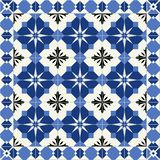 Herrliches nahtloses Muster weiße türkische, marokkanische, portugiesische Fliesen, Azulejo, Verzierung Lizenzfreies Stockbild