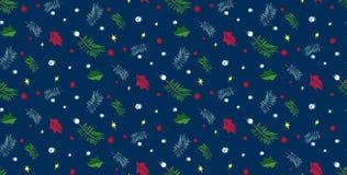 Herrliches Weihnachtsvektormuster mit Feiertagselementen Stockfoto