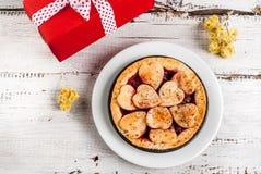 Сherry pie for Valentine`s Day Stock Photo
