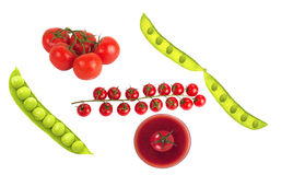 Сherry tomatoes on branch. Cherry tomatoes on branch with water drops isolated on white background Royalty Free Stock Image