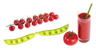 Сherry tomatoes on branch. Cherry tomatoes on branch with water drops isolated on white background Stock Photo