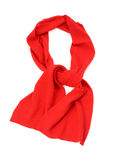 Hers red scarf for winter. Red scarf isolated on white background Stock Images
