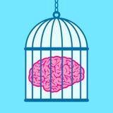Hersenen die in birdcage worden gevangen Royalty-vrije Stock Foto