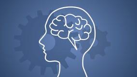 Hersenen die in hoofd verschijnen en beginnen te werken stock illustratie