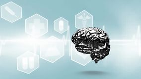 Hersenen die tegen een blauwe achtergrond roteren vector illustratie