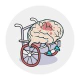 Hersenen in een rolstoel Stock Afbeelding