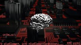Hersenen en een digitale kring met programmacodes royalty-vrije illustratie