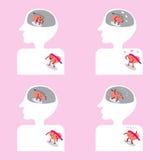 Hersenen en hartbeeldverhaal die goed binnen lichaam bijeenkomen vector illustratie