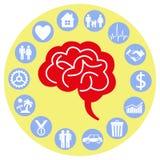 Hersenen en mening Stock Afbeeldingen