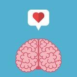 Hersenen, hart, toespraakbel Stock Illustratie