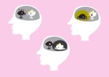 Hersenen het vechten reeks binnen hoofd Stock Fotografie