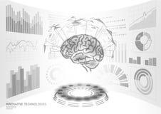 Hersenen kenmerkende behandeling laag poly 3D HUD Slimme vertoning van de drug de nootropic stimulans Geneeskunde cognitieve reha stock illustratie