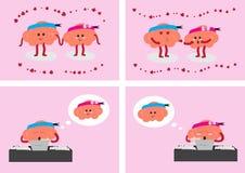 Hersenen in liefde Royalty-vrije Stock Afbeelding