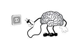 Hersenen met contactdoos Stock Afbeelding