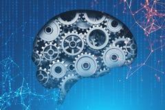 Hersenen met toestellen, ai concept royalty-vrije illustratie