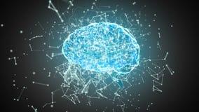 Hersenen met veelhoekige verbindende punten en lijnen royalty-vrije illustratie