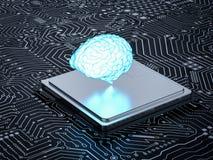 Hersenen op cpu Royalty-vrije Stock Afbeelding