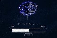 Hersenen van elektronische kringen met de lading die van de vooruitgangsbar worden gemaakt en Stock Afbeelding
