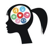 Hersenen van vrouw Royalty-vrije Stock Afbeeldingen