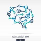 Hersenenconcept met computer, technologie, digitale pictogrammen Stock Afbeeldingen
