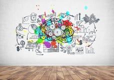 Hersenenradertjes en een businessplan royalty-vrije illustratie