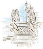 Hersenschim op de bovenkant van Notre-Dame de Paris stock illustratie