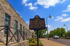 Hershey Historical Marker Sign. Hershey, PA, USA - May 21, 2018: An historical marker sign stands in front of the Hershey Chocolate Factory royalty free stock photography