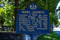 Derry Church Historic Marker Sign at Hershey. Hershey, PA - August 22, 2016: The Derry Church Historic Marker Sign in Hershey marks the location of an early royalty free stock photography