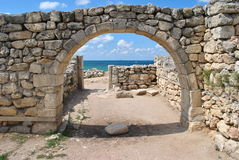 Hersonessa ruins in Crimea. The ruins of the ancient city of Hersonissos on the background of the Black Sea Stock Images