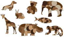 Herstelde dierlijke poppen vectorillustratie Stock Afbeelding
