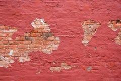 Herstelde Rode Bakstenen muur Stock Afbeelding