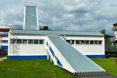 Herstellende Betonplatten Stahlbetonproduktion Stockfotografie