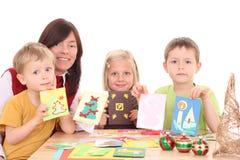 Herstellung der Weihnachtskarten Stockbilder