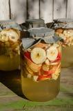 Herstellung des Apfelessigs - Apfel bessert das Schwimmen auf Wasser in einem Glas aus stockfotografie