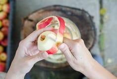 Herstellung des Apfelessigs - Szene von oben genanntem - übergeben Sie Schalenäpfel stockbild