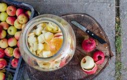 Herstellung des Apfels - von der oben genannten Szene eines Arbeitsplatzes lizenzfreie stockfotos