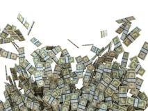 Herstellung des Geldkonzeptes: Bündel US-Dollars lokalisiert stockbild