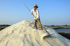 Herstellung des Salzes in den Stapel Stockfotografie