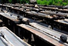 Herstellung des Seesalzes in Bali Stockfotos
