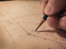 Herstellung einer Position auf Navigationsdiagramm Lizenzfreies Stockbild
